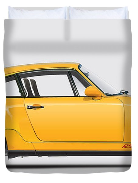 Porsche 964 Carrera Rs Illustration In Yellow. Duvet Cover