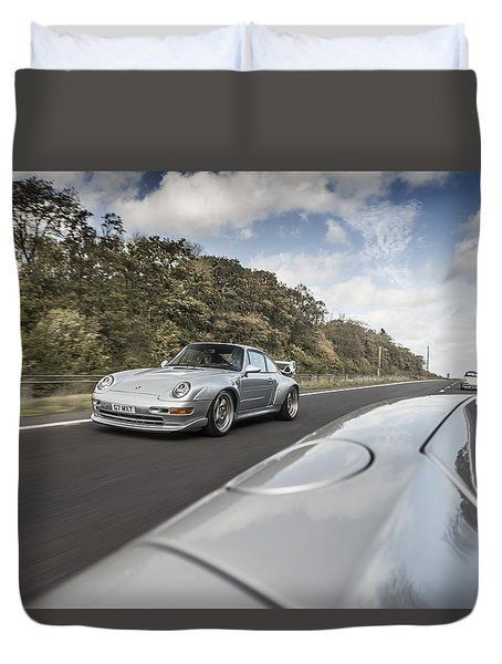 Porsche 993 Gt2 With Carrera Gt And 1973 2.7 Rs Duvet Cover