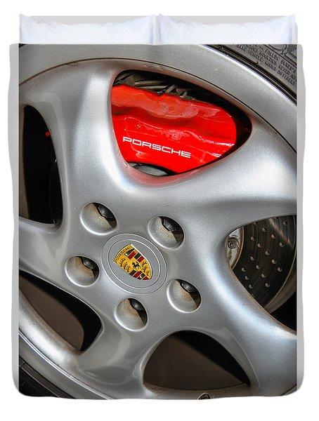Porsche Brakes Duvet Cover by Robert Hebert