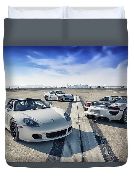 Duvet Cover featuring the photograph #porsche #carreragt,  #918spyder,  #cayman #gt4 by ItzKirb Photography