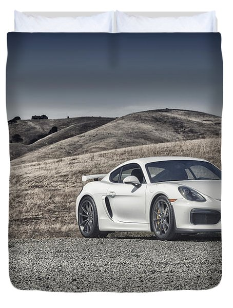 Porsche Cayman Gt4 In The Wild Duvet Cover