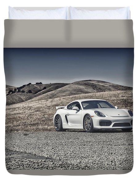 Duvet Cover featuring the photograph Porsche Cayman Gt4 In The Wild by ItzKirb Photography