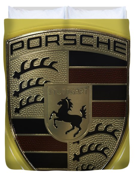 Porsche Emblem On Racing Yellow Duvet Cover