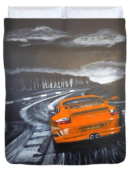 Duvet Cover featuring the painting Porsche Gt3 @ Le Mans #3 by Richard Le Page