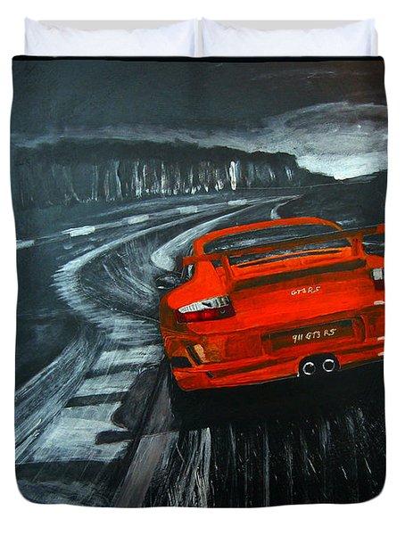 Duvet Cover featuring the painting Porsche Gt3 Le Mans by Richard Le Page