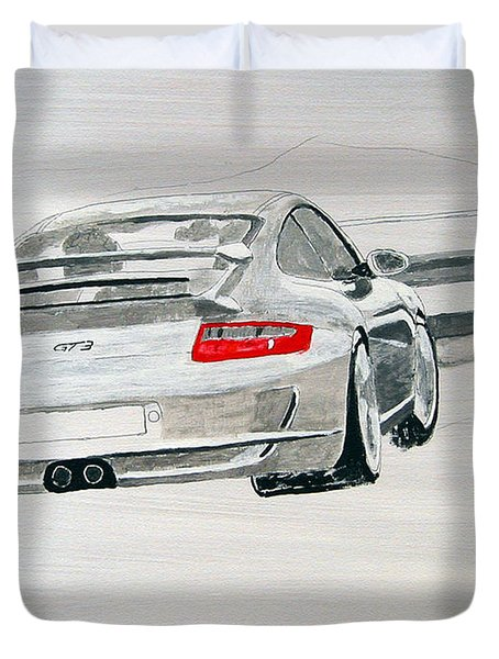 Duvet Cover featuring the painting Porsche Gt3 by Richard Le Page
