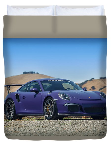 Duvet Cover featuring the photograph #porsche #gt3rs #ultraviolet by ItzKirb Photography