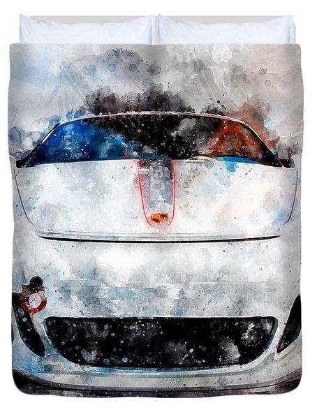 Porsche Watercolor Duvet Cover