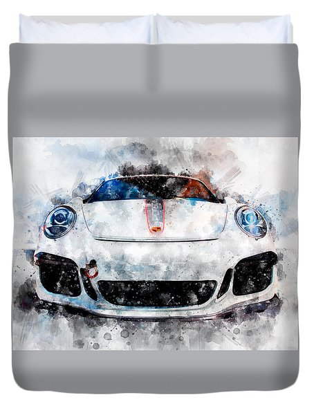 Porsche Watercolor Duvet Cover