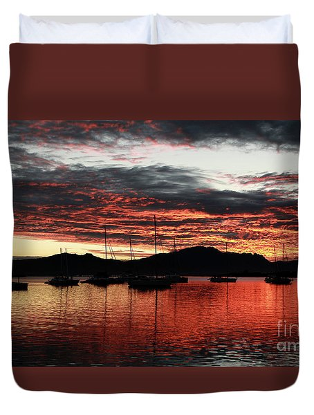 Port Denarau Fiji At Sunrise Duvet Cover