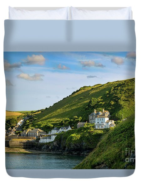 Duvet Cover featuring the photograph Port Issac Hills by Brian Jannsen