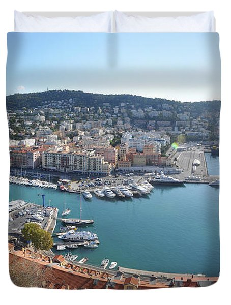 Duvet Cover featuring the photograph Port Nice Panorama by Yhun Suarez