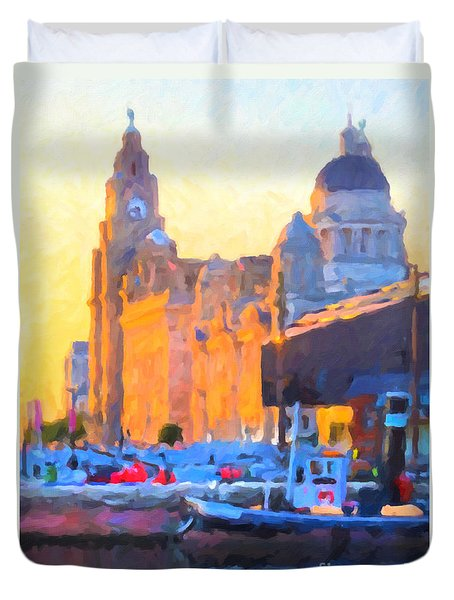 Duvet Cover featuring the painting Port Of Liverpool, England by Chris Armytage