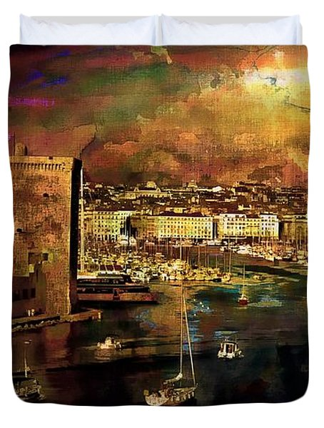 The Old Port Of Marseille Duvet Cover