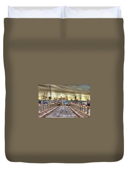 Port Of Newport - Dock 5 Duvet Cover by Thom Zehrfeld