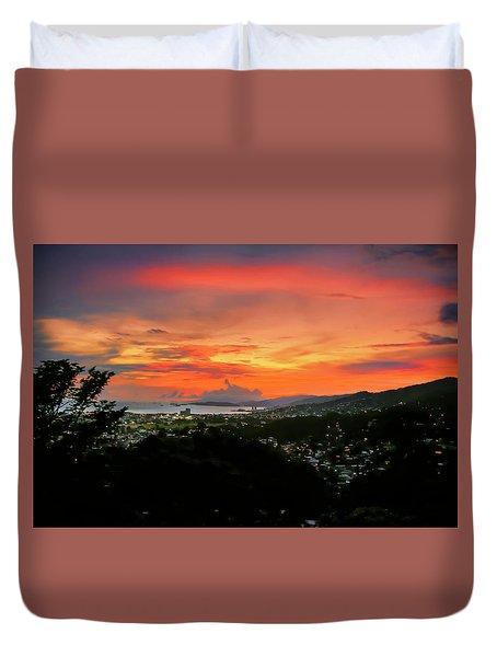 Port Of Spain Sunset Duvet Cover