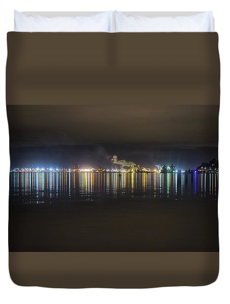 Port Of Tacoma Lights Duvet Cover