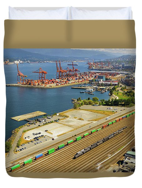 Port Of Vancouver Bc Duvet Cover by David Gn