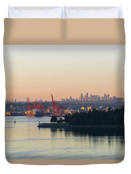 Port Of Vancouver By Stanley Park Duvet Cover by David Gn