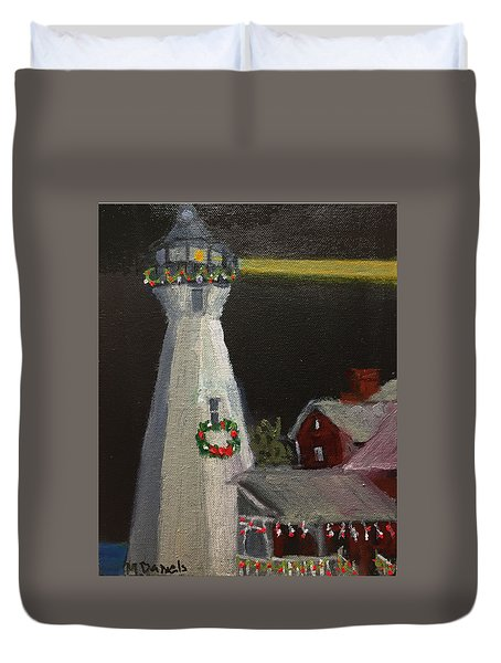Port Sanilac Lighthouse At Christmas Duvet Cover