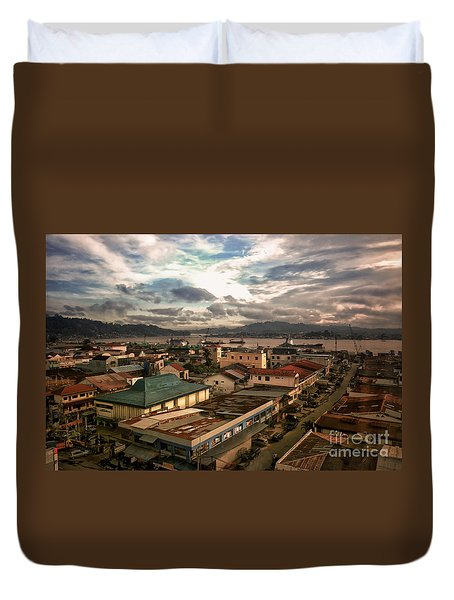 Port View At River Mahakam Duvet Cover by Charuhas Images
