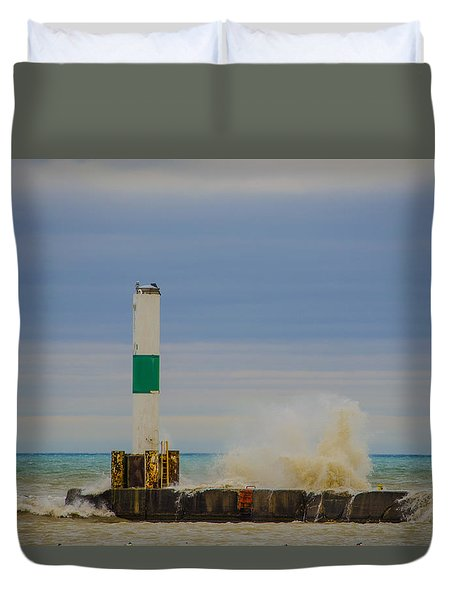 Duvet Cover featuring the photograph Port Washington Light 2 by Deborah Smolinske