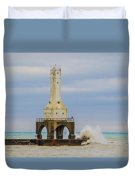 Duvet Cover featuring the photograph Port Washington Light 3 by Deborah Smolinske