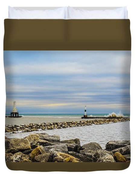 Duvet Cover featuring the photograph Port Washington Light 5 by Deborah Smolinske