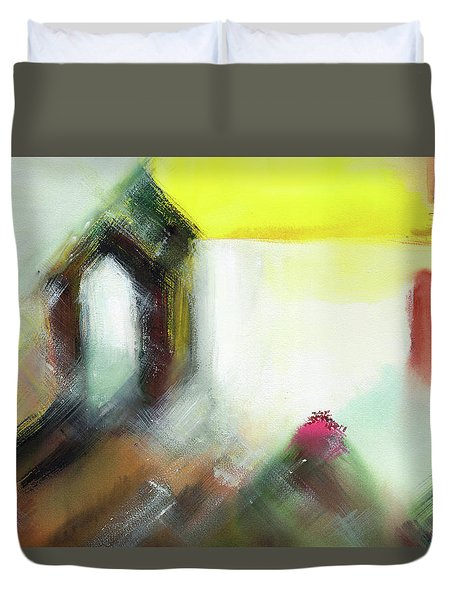 Duvet Cover featuring the painting Portal by Anil Nene