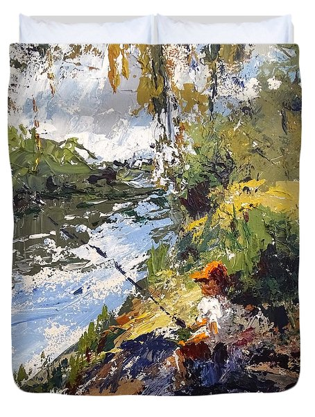 Porter Fishing Under The Cypress Trees Duvet Cover by Sandra Strohschein