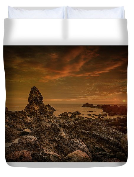 Porth Saint Beach At Sunset. Duvet Cover