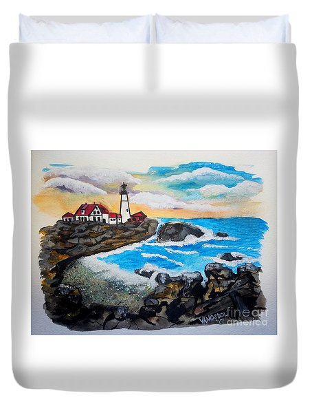 Porthead Lighthouse Maine In Watercolors Duvet Cover