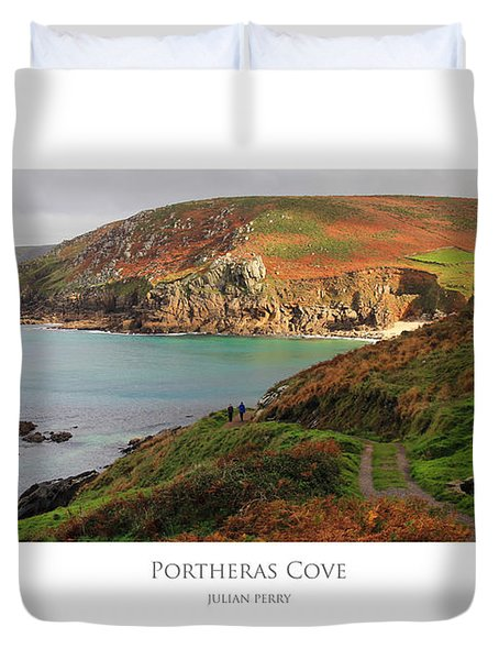 Duvet Cover featuring the digital art Portheras Cove by Julian Perry