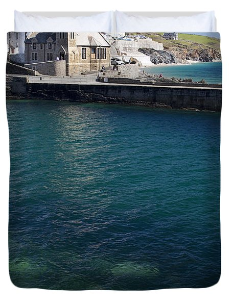 Porthleven Harbour Mouth Cornwall Uk Duvet Cover