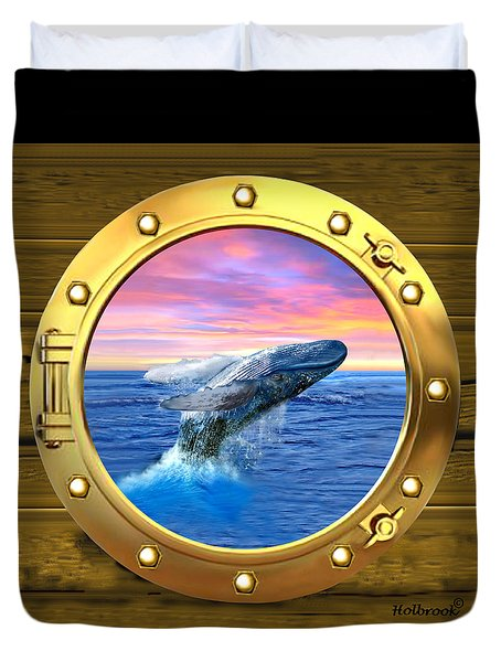 Porthole View Of Breaching Whale Duvet Cover by Glenn Holbrook