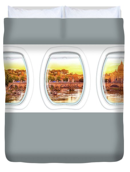 Porthole Windows On Rome Duvet Cover
