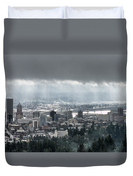 Portland After A Morning Rain Duvet Cover by Don Schwartz
