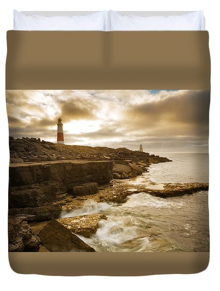 Duvet Cover featuring the photograph Portland Bill Lighthouse by Ian Middleton