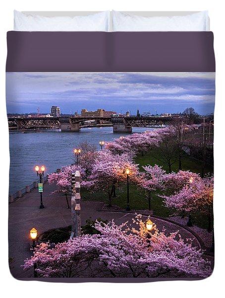 Portland Cherry Blossoms Duvet Cover