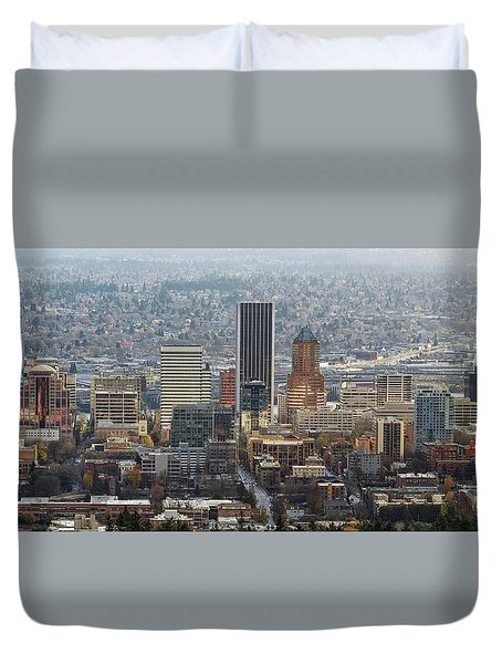 Portland City Downtown Cityscape Panorama Duvet Cover by David Gn