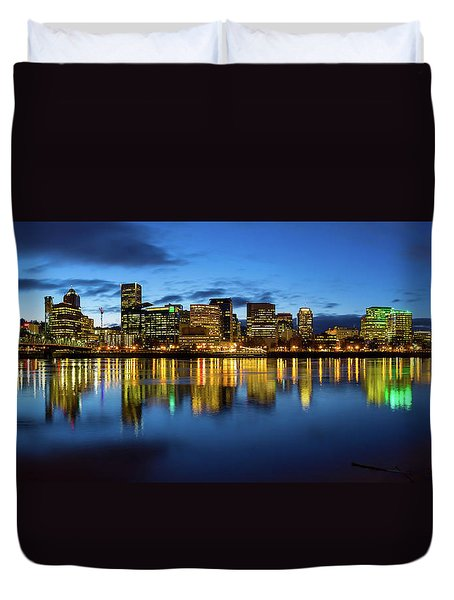 Portland City Skyline Blue Hour Panorama Duvet Cover by David Gn