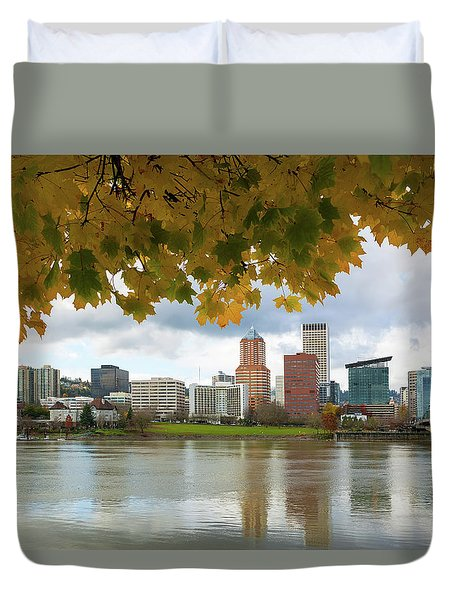 Portland City Skyline Under Fall Foliage Duvet Cover
