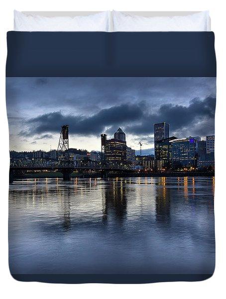 Portland City Skyline With Hawthorne Bridge At Dusk Duvet Cover by David Gn