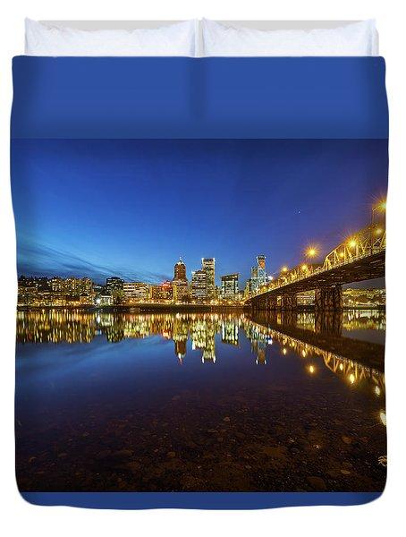 Portland Downtown Blue Hour Duvet Cover