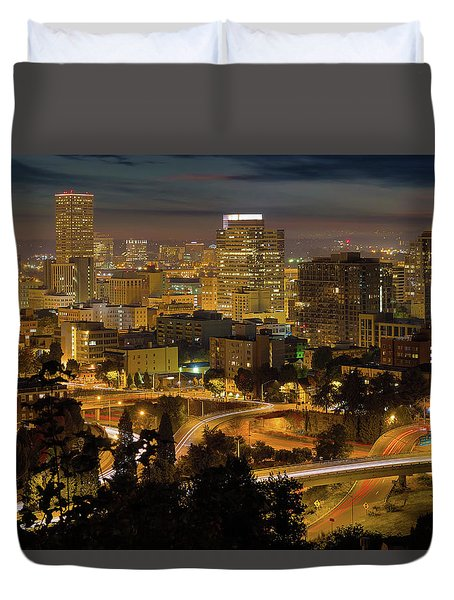 Portland Downtown Cityscape And Freeway At Night Duvet Cover