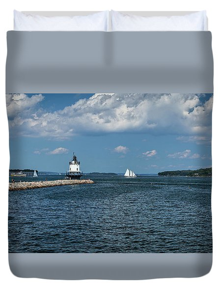 Portland Harbor, Maine Duvet Cover