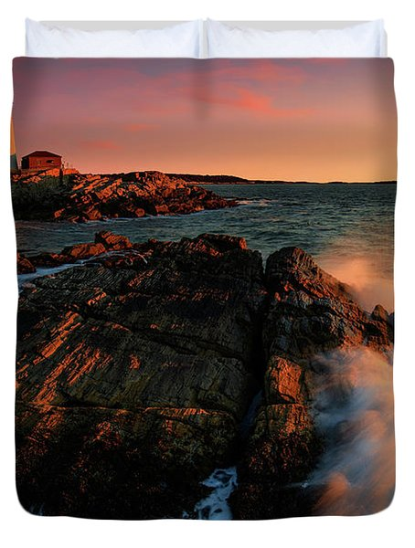 Duvet Cover featuring the photograph Portland Head First Light  by Emmanuel Panagiotakis