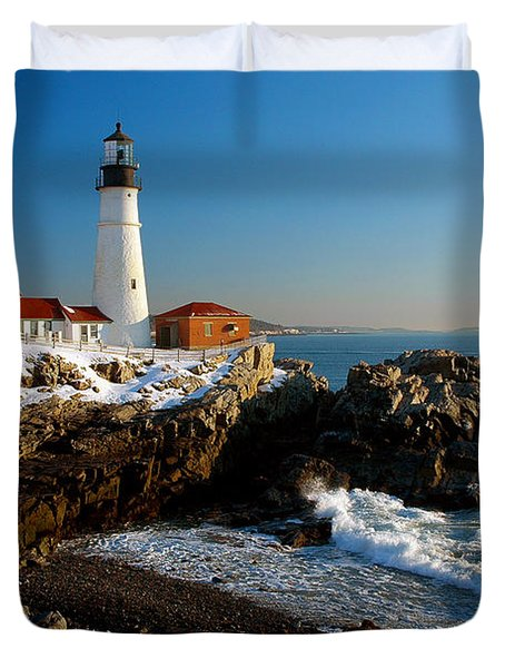 Portland Head Light - Lighthouse Seascape Landscape Rocky Coast Maine Duvet Cover by Jon Holiday