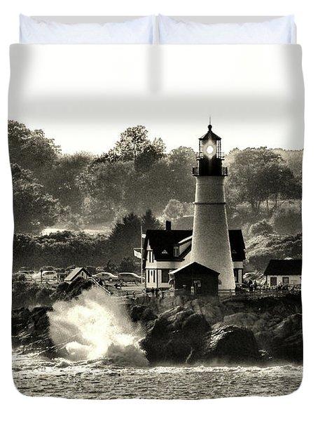Portland Head Light At Cape Elizabeth In Black And White Duvet Cover