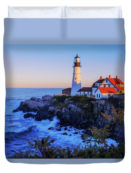 Portland Head Light II Duvet Cover by Chad Dutson